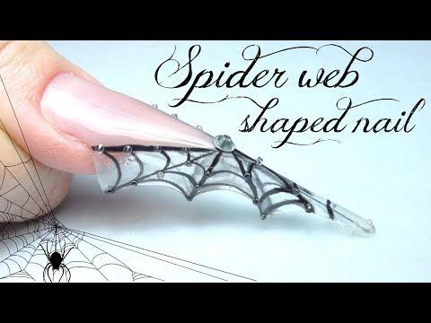 Spider web shaped nail   Halloween nailart tutorial