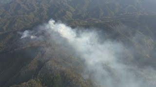 帰還困難区域で山林火災