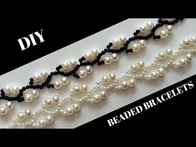 Pearl Beaded Bracelets. Simple beaded pattern -Very Easy Tutorial