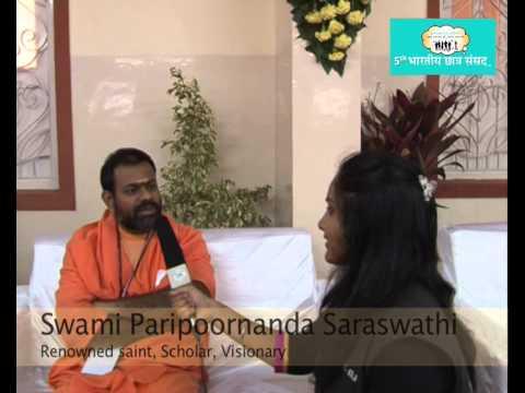 Swami Paripoornananda Saraswathi interacting with Snehaa Padmanabhan, Media Student, MIT-ISBJ Photo Image Pic