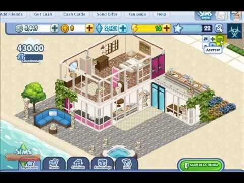 Como hacer una casa de dos pisos en the sims social youtube for Como remodelar una casa