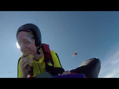 Eating toast during a wingsuit rodeo