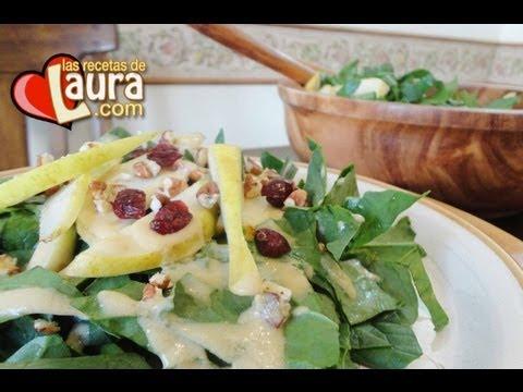 Ensalada de espinacas con pera Recetas Light Las Recetas de Laura
