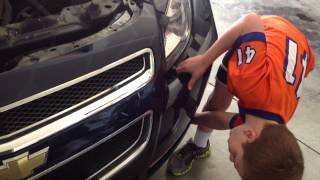 How to fix a headlight on a 2009 Chevy Malibu done by a 7 year old