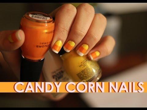 Candy Corn Nails Tutorial Candy Corn Beginner Nail Art