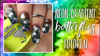 Neon Rainbow Gradient Butterflies Nail Art Tutorial | bwidix