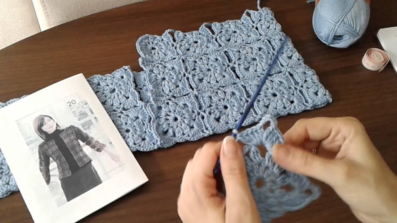 Жакет из квадратных мотивов крючком безотрывное вязание