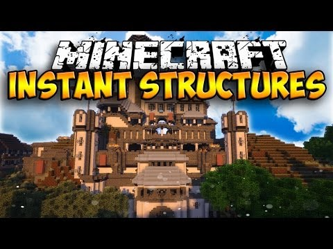 Massive Instant Structures Mod - INSTANT HOUSES AND STRUCTURES! (Minecraft Mod Showcase)
