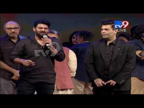 Prabhas lifts Karan Johar @ Baahubali 2 Pre Release Function - TV9 thumbnail