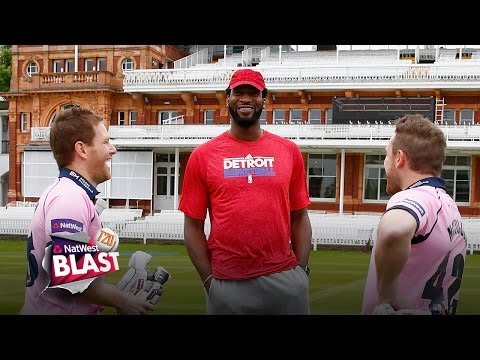 NBA Star Andre Drummond meets Brendon McCullum and Eoin Morgan