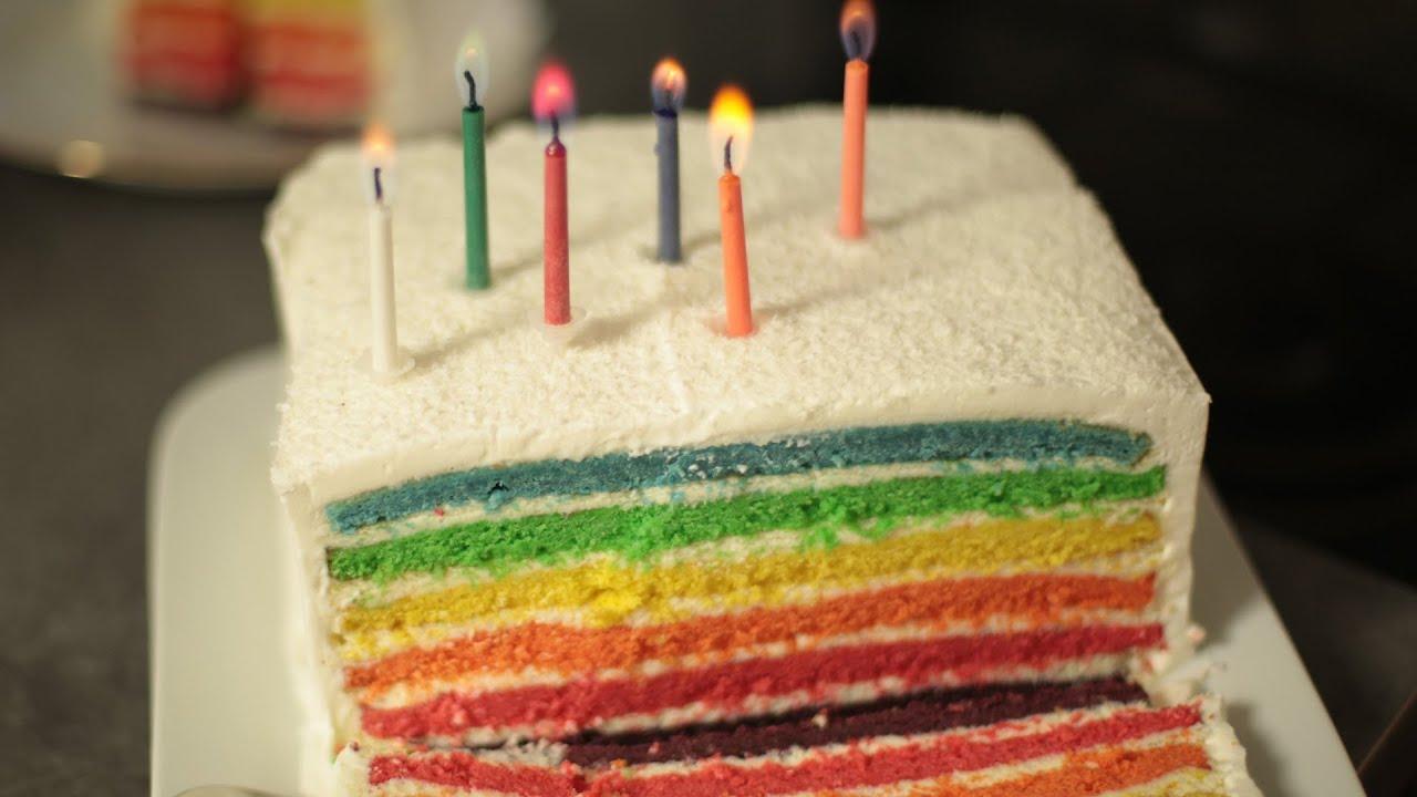Recette Cake Design Rainbow : Recette du Rainbow Cake - YouTube