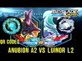 QR CODES ATLAS ANUBION A2  VS LOST LÚINOR L2  UNLOCKED BEYBLADE BURST
