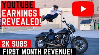 How Much Do Small YouTubers Make? First Month Earnings in 2019 Motorcycle Channel Makes a Month