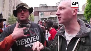 Pro and Anti-Trump Marchers Share Marijuana