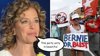 "Amid #BernieOrBust Protests Wasserman Schultz Insists Dems Are ""Completely United"""