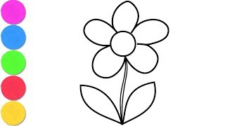 Glitter Flower Coloring Learn colors for Kids, Toddlers
