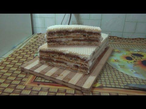 торт с бананами и киви. торт без выпечки. вафельный торт.