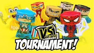 VS Rip-Spin Warriors Toys Tournament #1 ft Spiderman, Spongebob, The Rock & Iron Man | KID CITY
