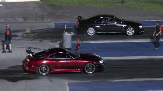 Toyota Supra vs Nissan Skyline 1/4 mile drag race (epic ending)