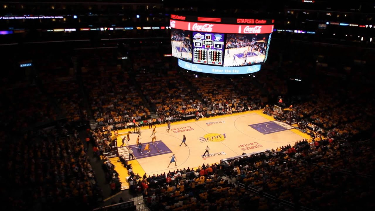 staples center atmosphere during playoff game between los