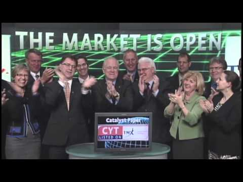 Catalyst Paper Corporation (CYT:TSX) opens Toronto Stock Exchange, January 15, 2013.