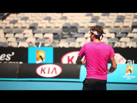 Roger Federer Hits With James Blake - Australian Open 2013