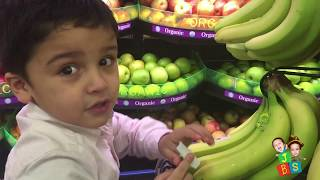 Kid Grocery Shopping Trip with Kid Size Shopping Cart | Learn Fruits and Vegetables For Kids