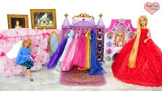 Princess Barbie Rapunzel Bedroom Morning Dress up Putri boneka Barbie Kamar Tidur Princesa Quarto