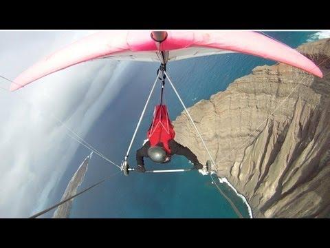 Scariest take-off and most beautiful flight, hang gliding Lanzarote - Mirador del Rio