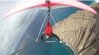 Scariest take-off and most beautiful flight, hang gliding Lanzarote - Mirador del Rio