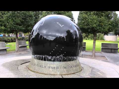 A large marble globe at the Tennessee Bicentennial Park in Nashville