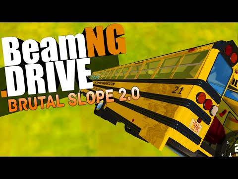BeamNG.Drive Gameplay - BRUTAL SLOPE 2.0, SCHOOL BUS, CRASHES & JUMPS - BeamNG Drive Funny Moments