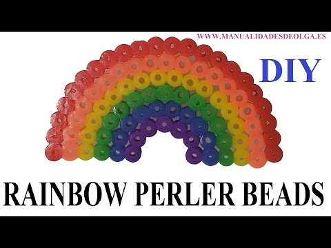 How to make Rainbow Perler bead. step by step tutorial. Hama beads.