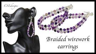 Beaded 4 strand braid wirework earrings