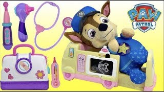 PAW PATROL Pup Chase Gets Sick and Visits Doc McStuffins Toy Hospital