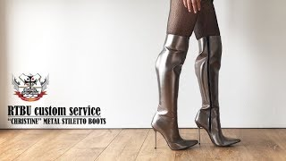 """CHRISTINE"" RTBU Customized Hard Shaft Metallic Boots with Skinny Metal Stiletto"