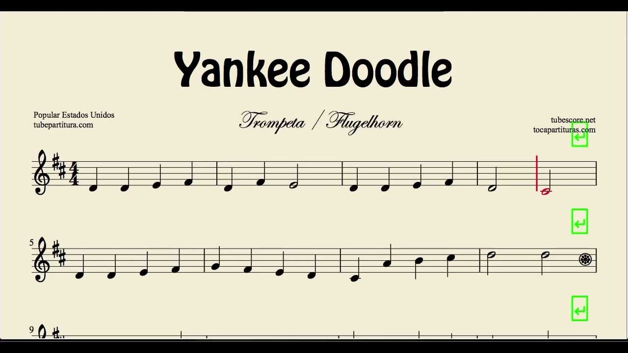 Yankee Doodle Sheet Music for Trumpet and Flugelhorn Folk Song - YouTube