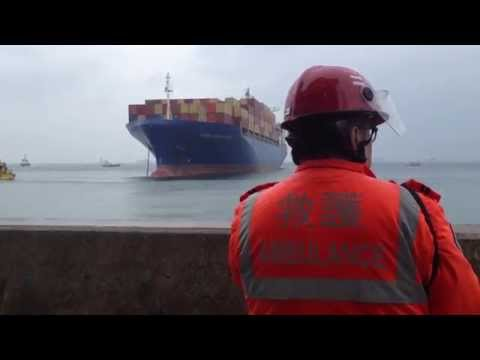 Disbelief as container ship heads straight to shore (full version) Hong Kong April 6, 2014