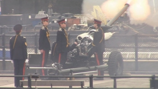 HM's Blue Sapphire Jubilee: 21 Gun Salute at the Tower of London, Honourable Artillery Company