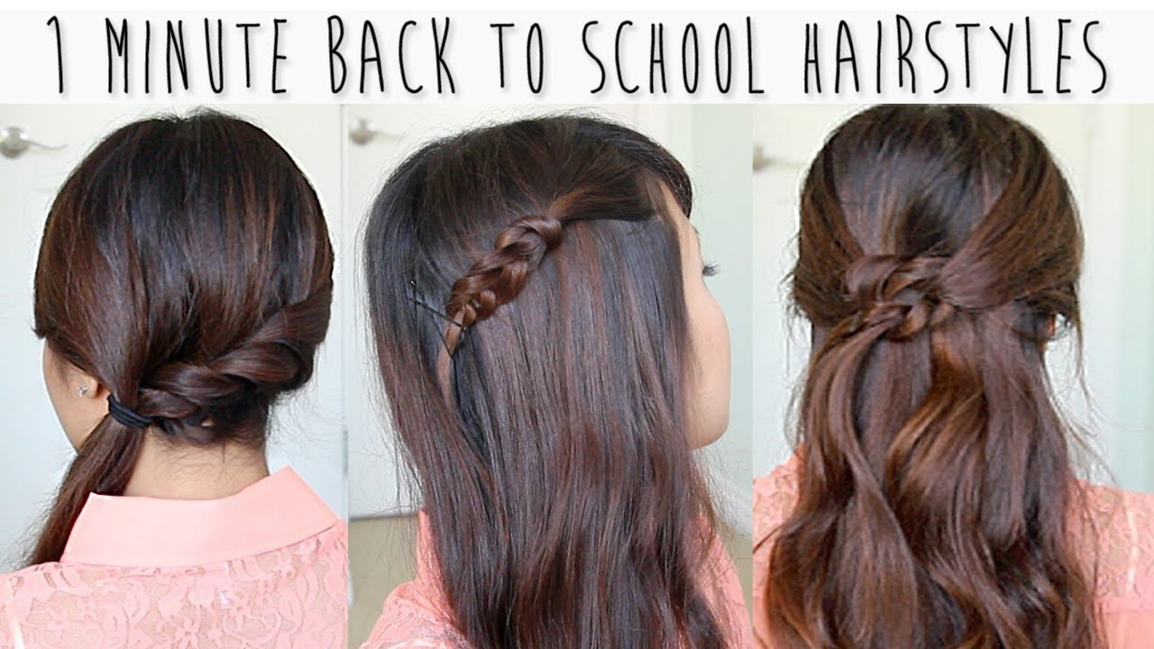 Easy Styles For Long Hair: 1 Minute Back To School Hairstyles For Medium Long Hair