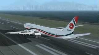 Biman Bangladesh Airlines Boeing 777-3E9/ER landing at Kai Tak Airport
