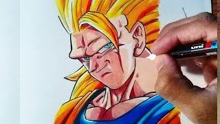 Drawing Goku Super Sayajin 3 - Dragon Ball Super