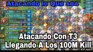 Atacando con T3 / 100M KILL/Lords Mobile ESP/Ataques Rapidos / T3 VS T3