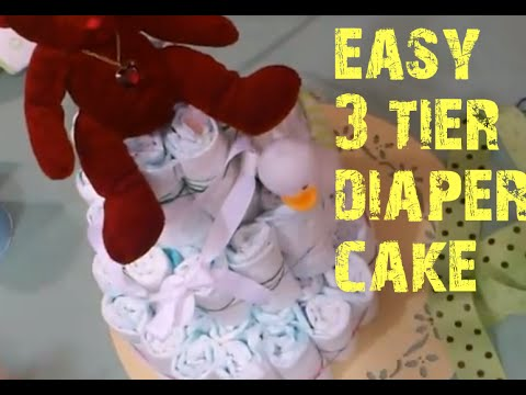 Easy three tier diaper cake instructions