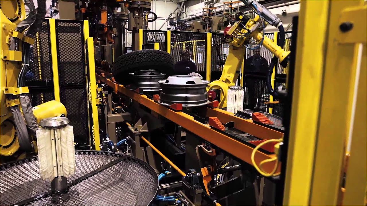 Robotic Tire and Wheel Assembly System - YouTube