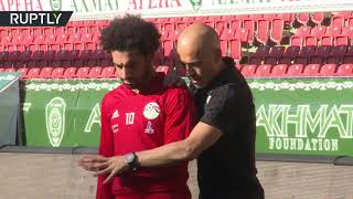Mohamed Salah works with physio to recover for World Cup