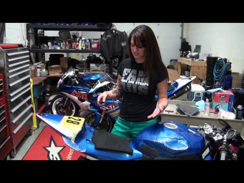 Rocket Girl Rebuilds Her Crashed Bike - Part 1 Fuel Tank Removal from SportbikeTrackGear.com