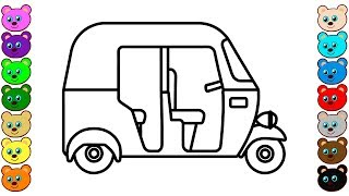 Coloring for Kids with Tuk-Tuk Auto Rickshaw - Colouring Book for Children