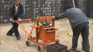 China small manual mobile concrete hollow block making machine