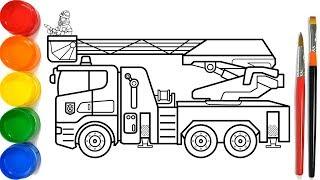 Glitter Fire Truck Coloring Pages For Kids | Como Desenhar um caminhão de bombeiros